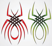 Set of sketches for tattoos. Set of templates of spiders for tattoos and design Royalty Free Stock Image