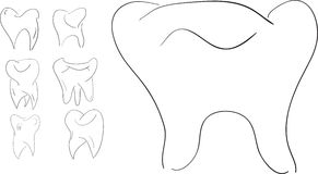 Set of sketches teeth Royalty Free Stock Images