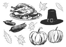 Set of sketches on the thanksgiving day Royalty Free Stock Photography