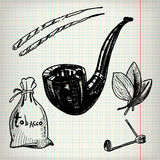Set of sketches Tobacco Stock Images