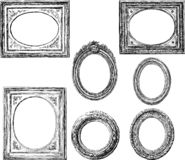 A set of sketches of vintage round and oval frames royalty free illustration