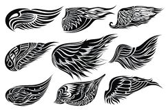 Set sketches of wings.Tattoo design Royalty Free Stock Photos