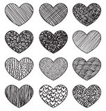 Set of sketching hearts Stock Images