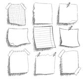Set of  sketchy black and white  stickers Royalty Free Stock Photo