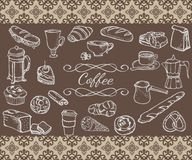 Set of sketchy coffee objects Royalty Free Stock Photos