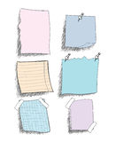 Set of  sketchy coloured   paper notes. With pin, eps 10 Royalty Free Stock Photos