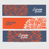 Set of sketchy doodle decorative banners in outline style Royalty Free Stock Photography