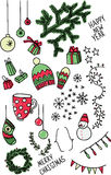 Set of sketchy doodle winter elements Royalty Free Stock Photos