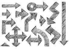 Set of Sketchy Hatched Arrows Doodles Stock Image