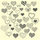 Set of sketchy hearts Stock Images
