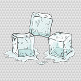 Set of sketchy transparent ice cubes. All elements separately. Vector illustration Royalty Free Stock Photos