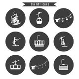 Set of ski cable lift icons for ski and winter sports. Design for tourist catalog, maps of the ski slopes, placard, brochure, flyer, booklet. Vector Stock Photos