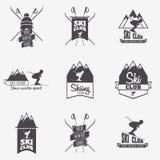 Set of ski club, Patrol Labels. Bundle of vintage mountain winter camp explorer badges. Outdoor adventure logo design Stock Images