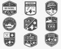 Set of Ski Club, Patrol Labels. Vintage Mountain Royalty Free Stock Photography