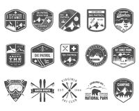 Set of Ski Club, Patrol Labels. Vintage Mountain Royalty Free Stock Photo