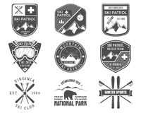 Set of Ski Club, Patrol Labels. Vintage Mountain Royalty Free Stock Image