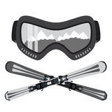 Set of ski and glasses, goggles in trendy flat style. Elements f Stock Photography