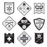 Set of ski logos, ski patrol, rental in flat style. Mountain first aid. Set of ski logos, ski patrol, rental in flat style. Mountain first aid illustration Royalty Free Stock Photos
