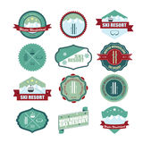 Set of ski mountain badges. Royalty Free Stock Photo