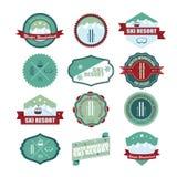 Set of ski mountain badges. Royalty Free Stock Photo
