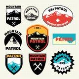 Set of ski patrol mountain badges and logo patches Stock Photos