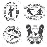 Set of Ski and Snowboard Club insignia Badges. Set of Ski and Snowboard Club insignia or Badges. Vector. Concept for shirt , print, stamp or tee. Extreme winter Royalty Free Stock Images