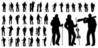 Set of ski vector. Vector shape sport silhouette winter snowboard and ski Royalty Free Stock Photography