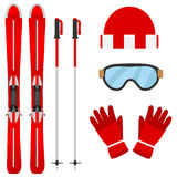 Set of skiers Stock Photography