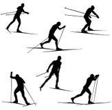 Set skiing athletes Stock Photo