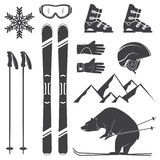 Set of skiing equipment silhouette icons. Royalty Free Stock Images