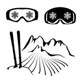 Set of skiing glasses and ski Stock Image