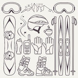 Set of skiing and snowboarding Stock Image