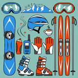 Set of skiing and snowboarding Royalty Free Stock Photos