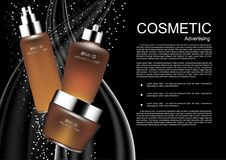 Set of skincare on abstract water line vector cosmetic ads templ. Ate Stock Images