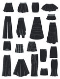 A set of skirts. A set of silhouettes of skirts,  illustration Royalty Free Stock Photography