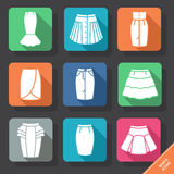 Set with skirts icons. Vector illustration. EPS 10 stock illustration