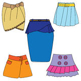 Set of skirts on white background. Vector illustration Royalty Free Stock Photography