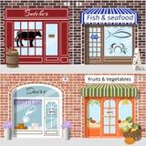 Set sklepy Masarka, ryba, nabiał, owoc i warzywo Obrazy Stock