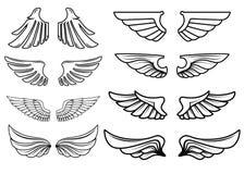 Set skrzydło ikony Projektuje elementy dla loga, etykietka, emblemat, znak Zdjęcie Royalty Free