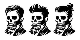 Set skull barbershop victorian hairstyle, haircut illustration. Monochrome hairstyle symbol in vintage style, labels and design elements. Vector illustration stock illustration