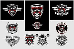 Set of skull biker with v-twin engine and shield vector logo template. Cool for t-shirt designs or motorcycle club logo royalty free illustration