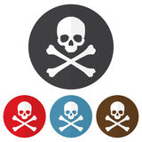 Set of skull and crossbones icon on a colorful circles. Vector illustration stock illustration