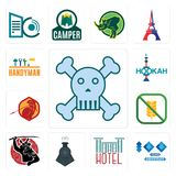 Set of skull and crossbones, 100 year anniversary, hotel, locomotive, , gluten free, sparta, hookah, handyman icons. Set Of 13 simple  icons such as skull and Royalty Free Stock Images