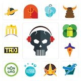 Set of skull with headphone, plumber, nova, house cleaning, non gmo, travel, taksi, mobile os a, banque icons. Set Of 13 simple  icons such as skull with Stock Images
