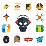 Set of skull with headphone, plumber, steakhouse, pit bull, ram, mobile os a, f, appliance repair, travel icons. Set Of 13 simple  icons such as skull with Stock Images