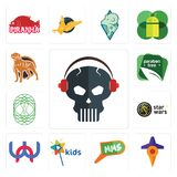 Set of skull with headphone, travel, mms, kids channel, wn, star wars, celtic tree life, paraben free, rottweiler icons. Set Of 13 simple  icons such as skull Royalty Free Stock Photo