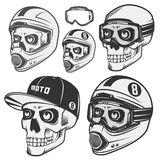 Set of skull helm biker and motosport. Royalty Free Stock Images