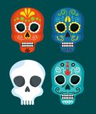 Set skull masks to mexico day of the dead event. Vector illustration stock illustration