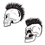 Set of skull with mohawk hairstyle isolated on white background Stock Photo