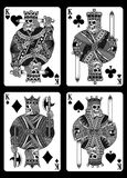 Set of Skull Playing Cards in Black and White. Fully editable vector illustration of skull playing cards, image suitable for playing card decks, tattoo, design vector illustration